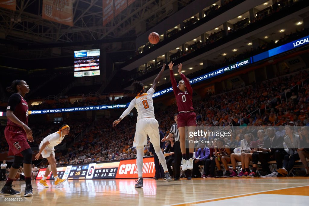South Carolina Victoria Patrick in action, shooting vs Tennessee at