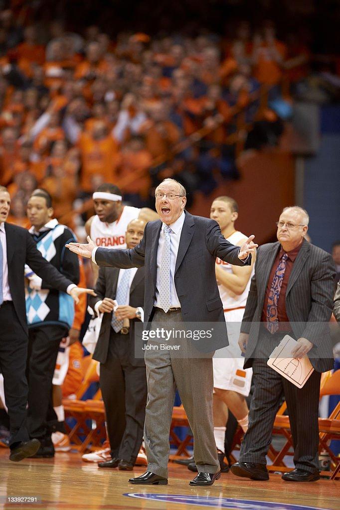 Syracuse Coach Jim Boeheim With Assistant Coach Bernie Fine