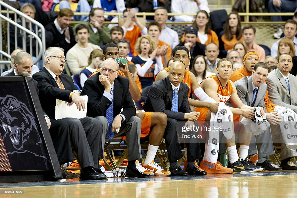 College Basketball Syracuse Coach Jim Boeheim With Assistant