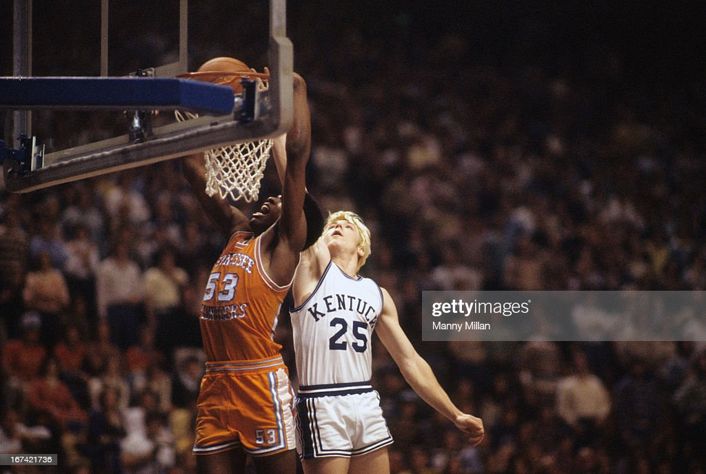 Tennessee Bernard King (53) in action, dunking vs Kentucky at Rupp Arena. Manny Millan F17 )