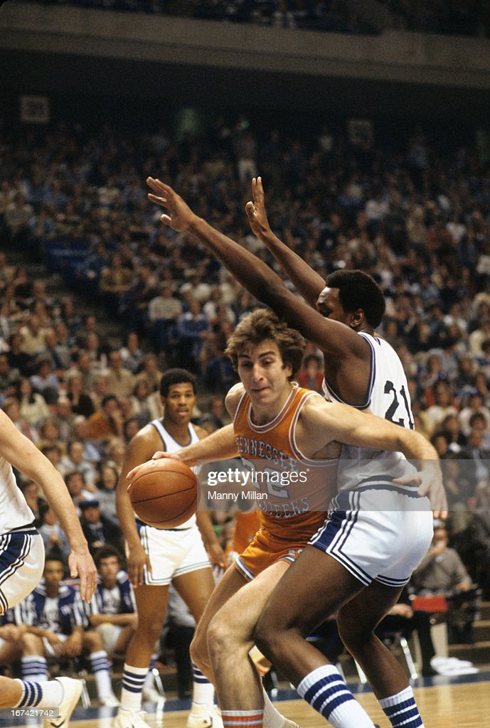 Tennessee Ernie Grunfeld (22) in action vs Kentucky Jack Givens (21) at Rupp Arena. Manny Millan F4 )