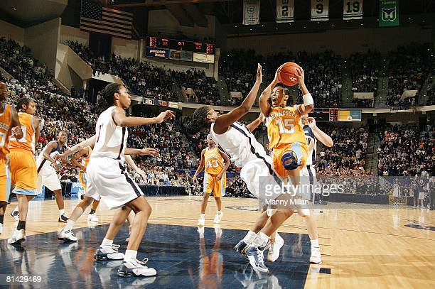 College Basketball: Tennessee Sa'de Wiley-Gatewood in action, taking shot during foul vs UConn, Hartford, CT 1/8/2005