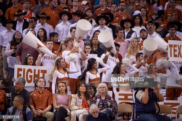 Texas cheerleaders in stands during game vs Mississippi at Frank Erwin Center Austin TX CREDIT Greg Nelson