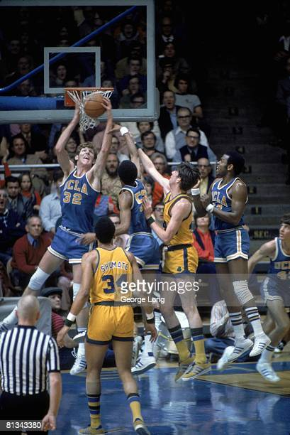 College Basketball UCLA Bill Walton in action getting rebound vs Notre Dame during 61st straight win Cover South Bend IN 1/27/1973