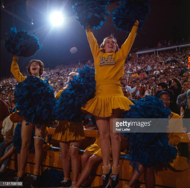 UCLA cheerleaders on sideline during game vs Allan Hancock College at Pauley Pavilion Los Angeles CA CREDIT Neil Leifer