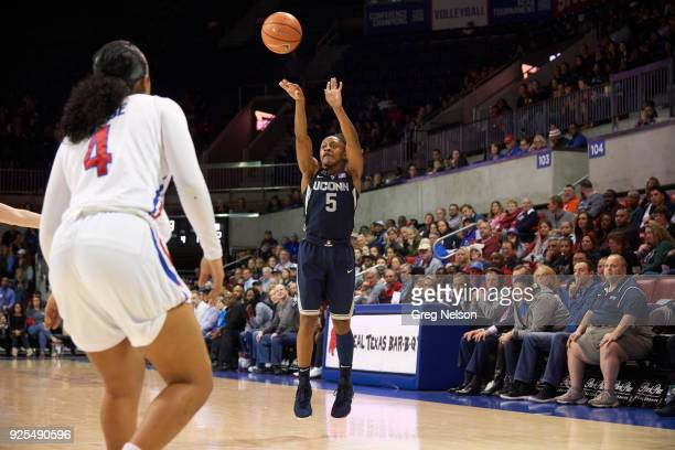 UConn Crystal Dangerfield in action shooting vs SMU at Moody Coliseum Dallas TX CREDIT Greg Nelson