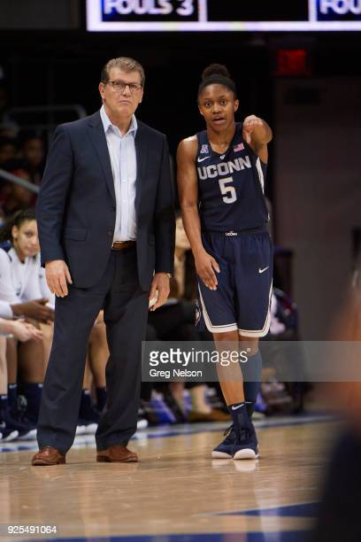 UConn Crystal Dangerfield with coach Geno Auriemma during game vs SMU at Moody Coliseum Dallas TX CREDIT Greg Nelson