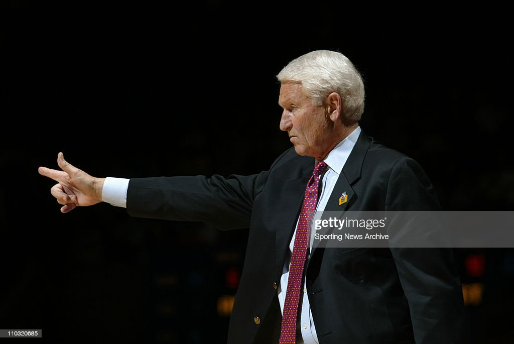 College Basketball - Utah State against Arizona head coach, Lute Olson during the first round of the NCAA tournament in Boise, Idaho on March 17, 2005. Arizona won 66-53.