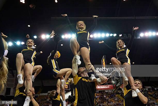 UWMilwaukee cheerleaders during game vs Valparaiso at UWM Panther Arena Milwaukee WI CREDIT Greg Nelson