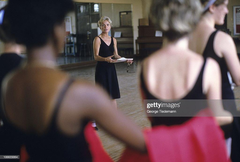 View of folk dance instructor Vonnie Brown, wife of LSU coach Dale Brown, teaching class. Baton Rouge, LA 9/20/1985