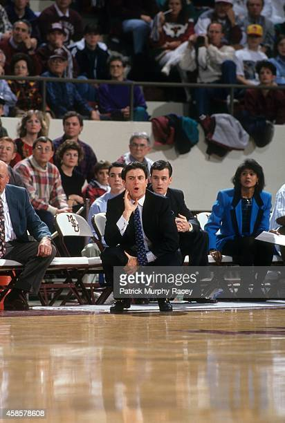 View of Kentucky coach Rick Pitino on sidelines during game vs Mississippi State at Humphrey Coliseum View of Kentucky assistant coaches Bernadette...