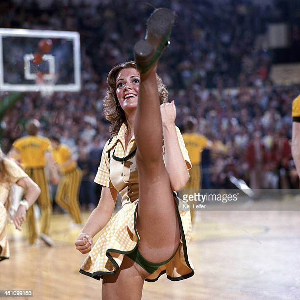View of Oregon cheerleader before game vs UCLA at McArthur Court Eugene OR CREDIT Neil Leifer