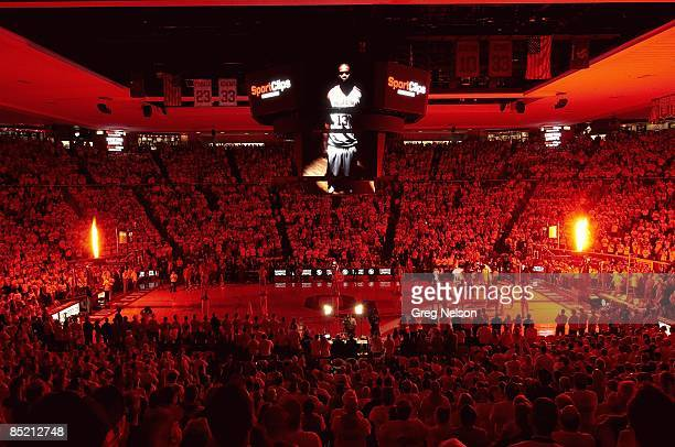 View of video screen showing Oklahoma Willie Warren during player introductions before game vs Kansas Norman OK 2/23/2009 CREDIT Greg Nelson