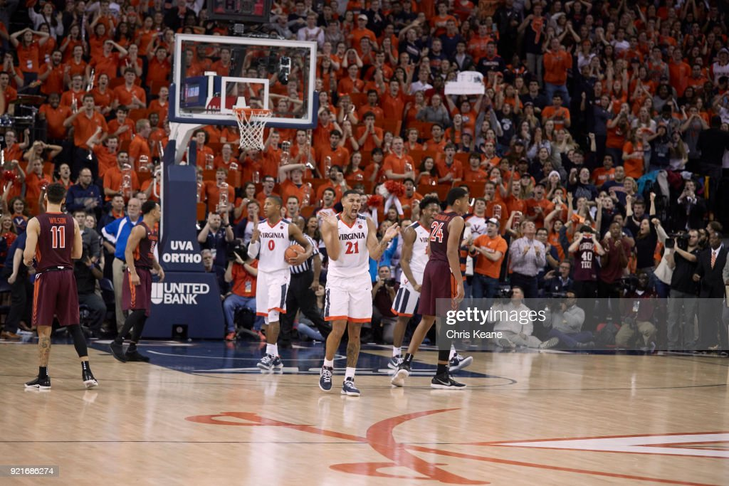 Virginia Isaiah Wilkins (21) victorious during game vs Virginia Tech at John Paul Jones Arena. Chris Keane TK1 )