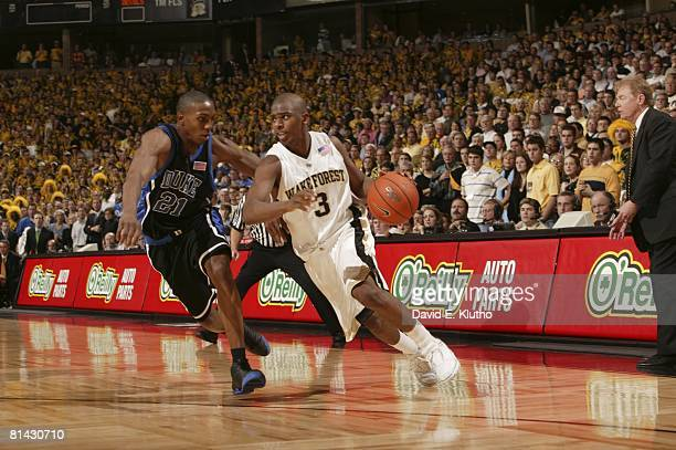College Basketball Wake Forest Chris Paul in action vs Duke DeMarcus Nelson WinstonSalem NC 2/2/2005