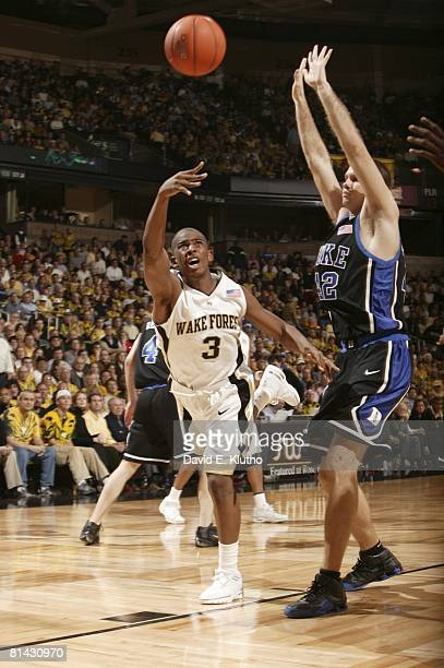 College Basketball Wake Forest Chris Paul in action vs Duke Shavlik Randolph WinstonSalem NC 2/2/2005