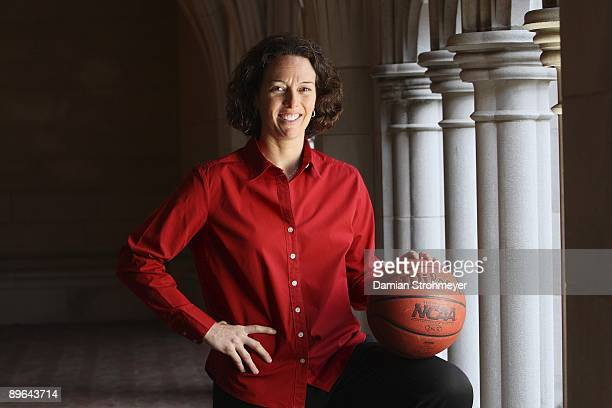 Where Are They Now: Portrait of former UConn player Wendy Davis on Trinity College campus. Davis is the head coach of Trinity women's college...