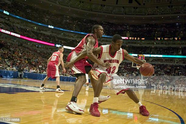 College Basketball Wisconsin Alando Tucker against Ohio State Je'Kel Foster during the Big 10 Tournament at the United Center in Chicago Ill March 11...