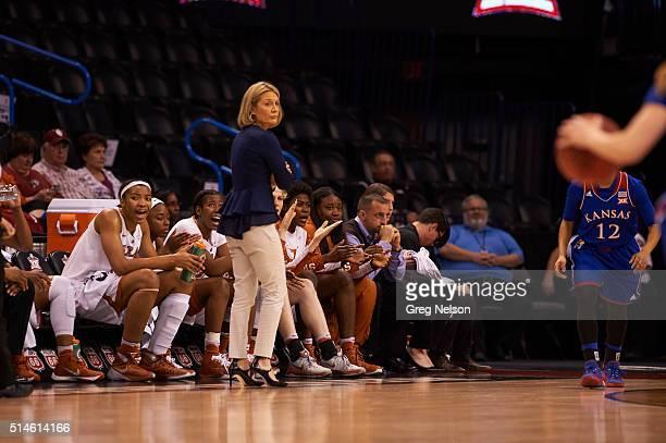 Texas coach Karen Aston on sidelines during game vs Kansas at Chesapeake Energy Arena Oklahoma City OK CREDIT Greg Nelson