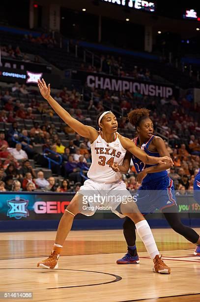 Texas Imani Boyette in action vs Kansas Chayla Cheadle at Chesapeake Energy Arena Oklahoma City OK CREDIT Greg Nelson