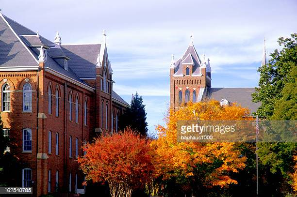 College campus during fall with changing trees