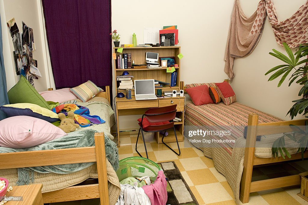 Messy Dorm Room Stock Photo