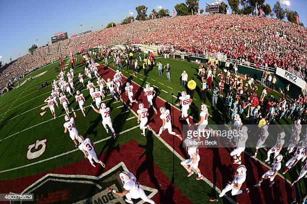 100th Rose Bowl Aerial rear view of Stanford players taking field before game vs Michigan State at Rose Bowl Stadium Pasadena CA CREDIT Robert Beck