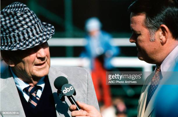 College Football 12/2/81 ABC Sports commentator Keith Jackson interviewed University of Alabama Crimson Tide coach Bear Bryant during the NCAA...