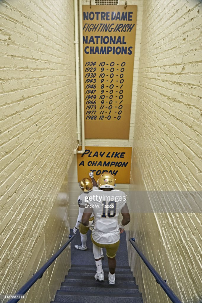 Rear View Of Notre Dame Players Entering Tunnel Before Spring News Photo Getty Images