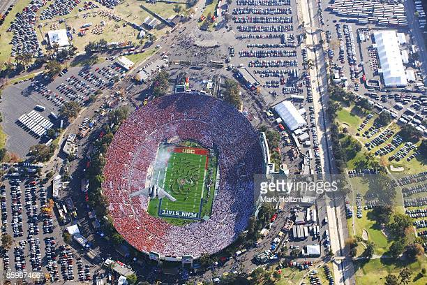 95th Rose Bowl Aerial view of US Air Force B2 Stealth Bomber during flyover as USC Trojans Marching Band perform national anthem before game vs Penn...