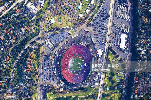 97th Rose Bowl Aerial view of US Navy FA18 Strike Fighter Jets during flyover as marching band performa national anthem before Texas Christian vs...