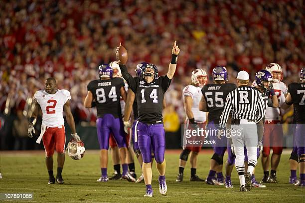 97th Rose Bowl Texas Christian QB Andy Dalton victorious after making final snap and winning game vs Wisconsin at Rose Bowl StadiumPasadena CA...