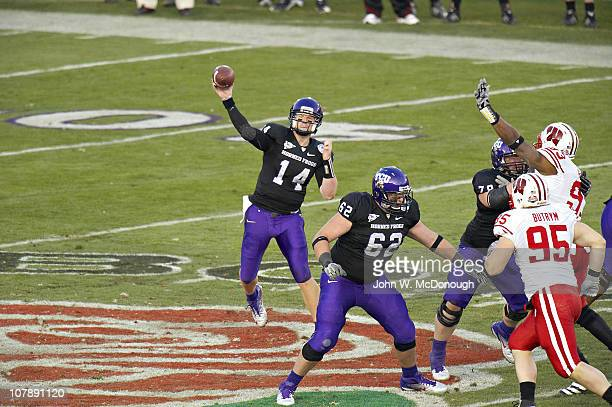 97th Rose Bowl Texas Christian QB Andy Dalton in action pass vs Wisconsin at Rose Bowl StadiumPasadena CA 1/1/2011CREDIT John W McDonough
