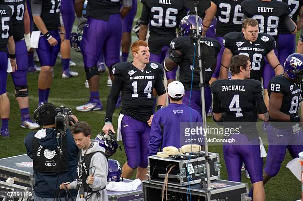 97th Rose Bowl Texas Christian QB Andy Dalton on sidelines during game vs Wisconsin at Rose Bowl StadiumPasadena CA 1/1/2011CREDIT John W McDonough