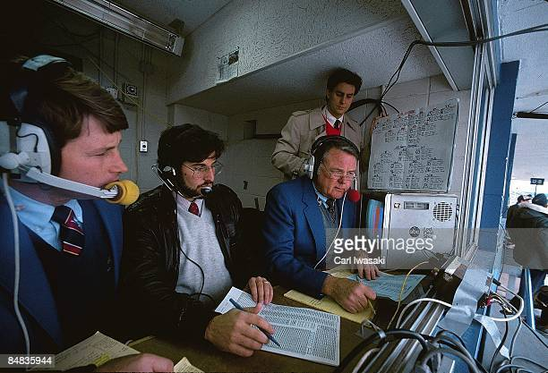 ABC Sports color analyst Tim Brant statistician Dave Bensen media commentator Keith Jackson and spotter Todd Barry during game between Air Force and...