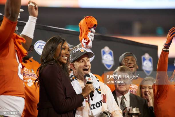 ACC Championship Clemson coach Dabo Swinney during interview with ESPN analyst Maria Taylor after winning game vs Miami at Bank of America Stadium...