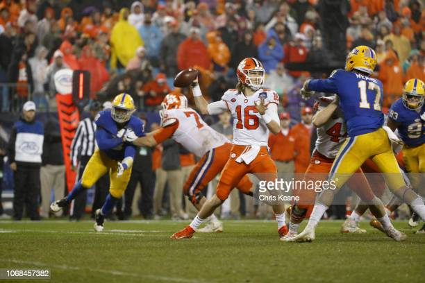 ACC Championship Clemson Trevor Lawrence in action passing vs Pittsburgh at Bank of America Stadium Charlotte NC CREDIT Chris Keane