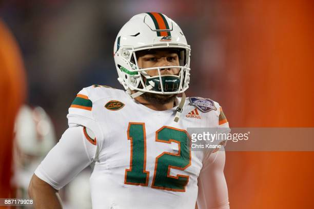 ACC Championship Miami QB Malik Rosier during game vs Clemson at Bank of America Stadium Charlotte NC CREDIT Chris Keane