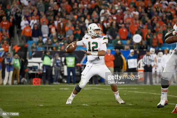 ACC Championship Miami QB Malik Rosier in action passing vs Clemson at Bank of America Stadium Charlotte NC CREDIT Chris Keane
