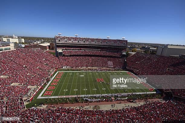 Aerial overall view of Memorial Stadium during Nebraska vs Rutgers game Lincoln NE CREDIT Bill Frakes