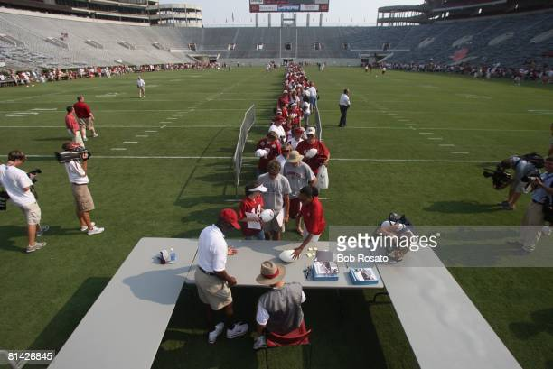 College Football Aerial view of Alabama coach Nick Saban signing atuographs for fans after open practice View of BryantDenny Stadium Tuscaloosa AL...