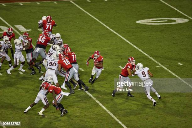 Aerial view of Georgia Nick Chubb in action rushing vs MIssissippi State at Sanford Stadium Athens GA CREDIT Kevin Liles