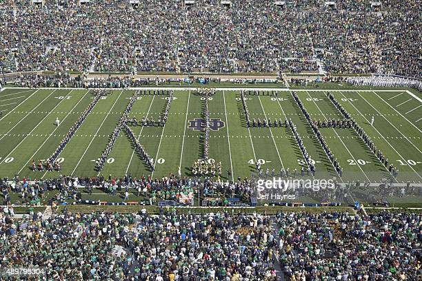 Aerial view of Notre Dame marching band spelling out IRISH on field before Notre Dame vs Georgia Tech game at Notre Dame Stadium South Bend IN CREDIT...