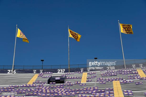 Aerial view of seats with LSU logo before game vs Georgia at Tiger Stadium Baton Rouge LA CREDIT Greg Nelson