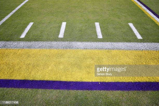 Aerial view of sidelines with LSU school colors before game vs Arkansas at Tiger Stadium. Baton Rouge, LA CREDIT: Simon Bruty