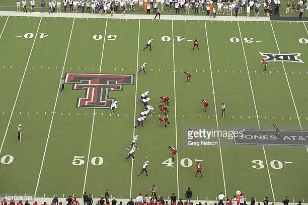 Aerial view of TCU QB Trevone Boykin calling signals during game vs Texas Tech at Jones AT&T Stadium. Lubbock, TX 9/26/2015 CREDIT: Greg Nelson