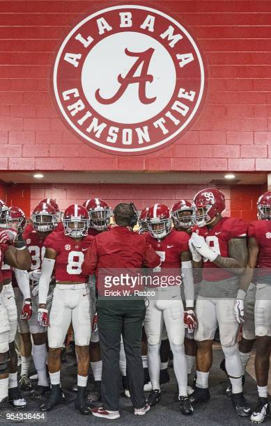 Alabama players gathered in tunnel before Crimson vs White spring game at BryantDenny Stadium Tuscaloosa AL CREDIT Erick W Rasco