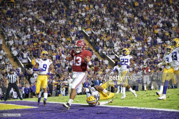 Alabama QB Tua Tagovailoa in action scoring touchdown vs LSU at Tiger Stadium Baton Rouge LA CREDIT Greg Nelson