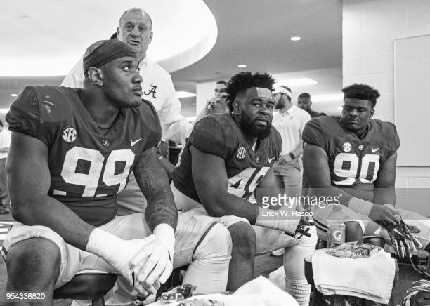 Alabama Raekwon Davis Isaiah Buggs and Stephon Wynn Jr in the locker room before Crimson vs White spring game at BryantDenny Stadium Tuscaloosa AL...