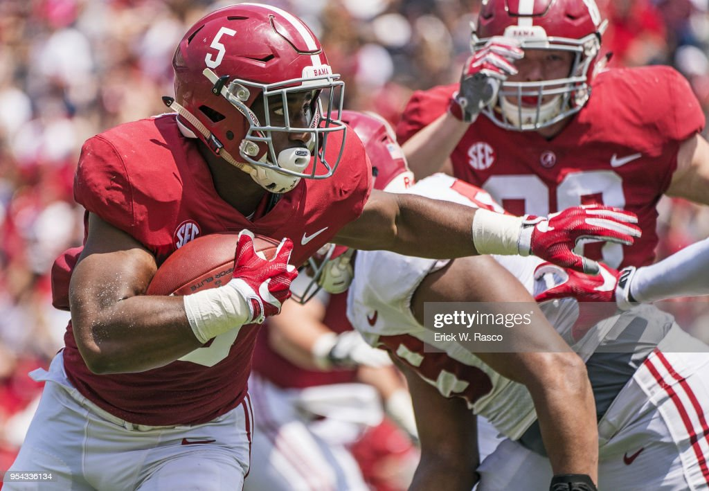 Alabama Ronnie Clark In Action Rushing During Crimson Vs White